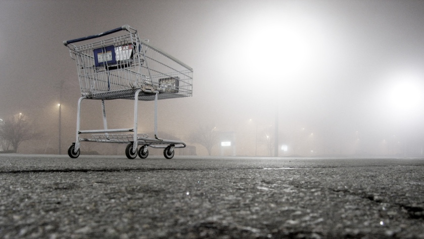 Shopping Cart in an empty parking lot